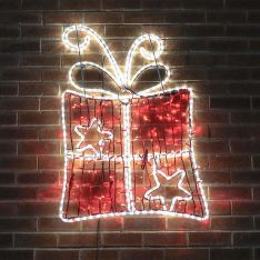 1.1m Aluminium Large Outdoor LED Rope Light Christmas Present Motif