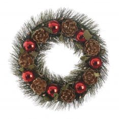 36cm Red Bauble and Pinecone Christmas Wreath