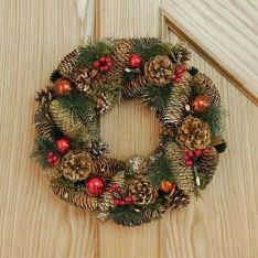 36cm Red and Copper Bauble Christmas Wreath