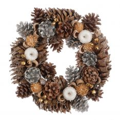 36cm Silver Cone and White Apple Christmas Wreath