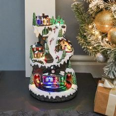36cm Battery Operated LED Musical Village Scene with Train