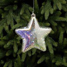 18cm Battery Glass LED Star Christmas Tree Decoration
