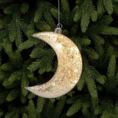 17cm Battery Glass LED Glittered Moon Christmas Tree Decoration