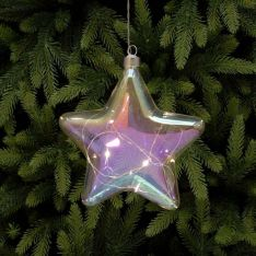 18cm Iridescent Battery Star Christmas Tree Decoration