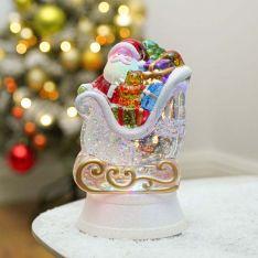 20cm Battery Swirling Glitter Santa Sleigh