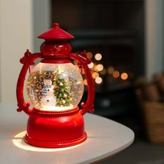 20cm Battery Swirling Glitter Snowman Lantern