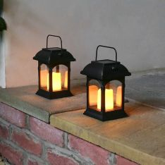 Solar Powered Flickering LED Candle Lantern, 2 Pack