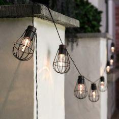 Solar Copper Globe Fairy Lights, 10 Warm White LEDs, 2.7m