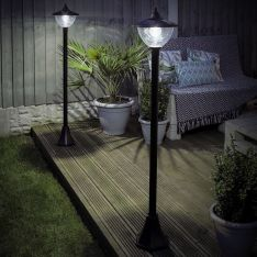 Solar Dome Security Lamp Post, 1.2m, 2 Pack