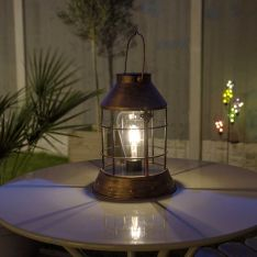 Solar Copper Filament Effect LED Lantern