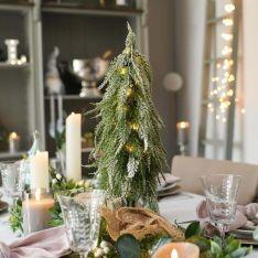 Pre Lit Battery Downswept Christmas Tree, Warm White LEDs