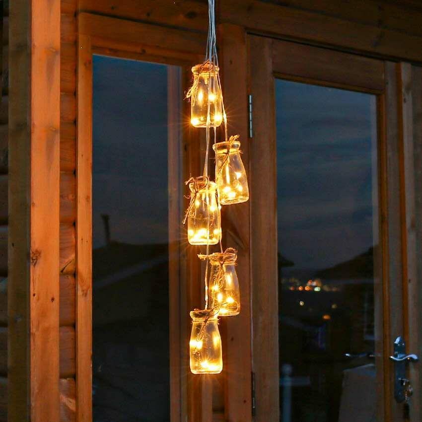 Outdoor Battery Glass Jar Silver, Noma Jam Jar Outdoor Lantern