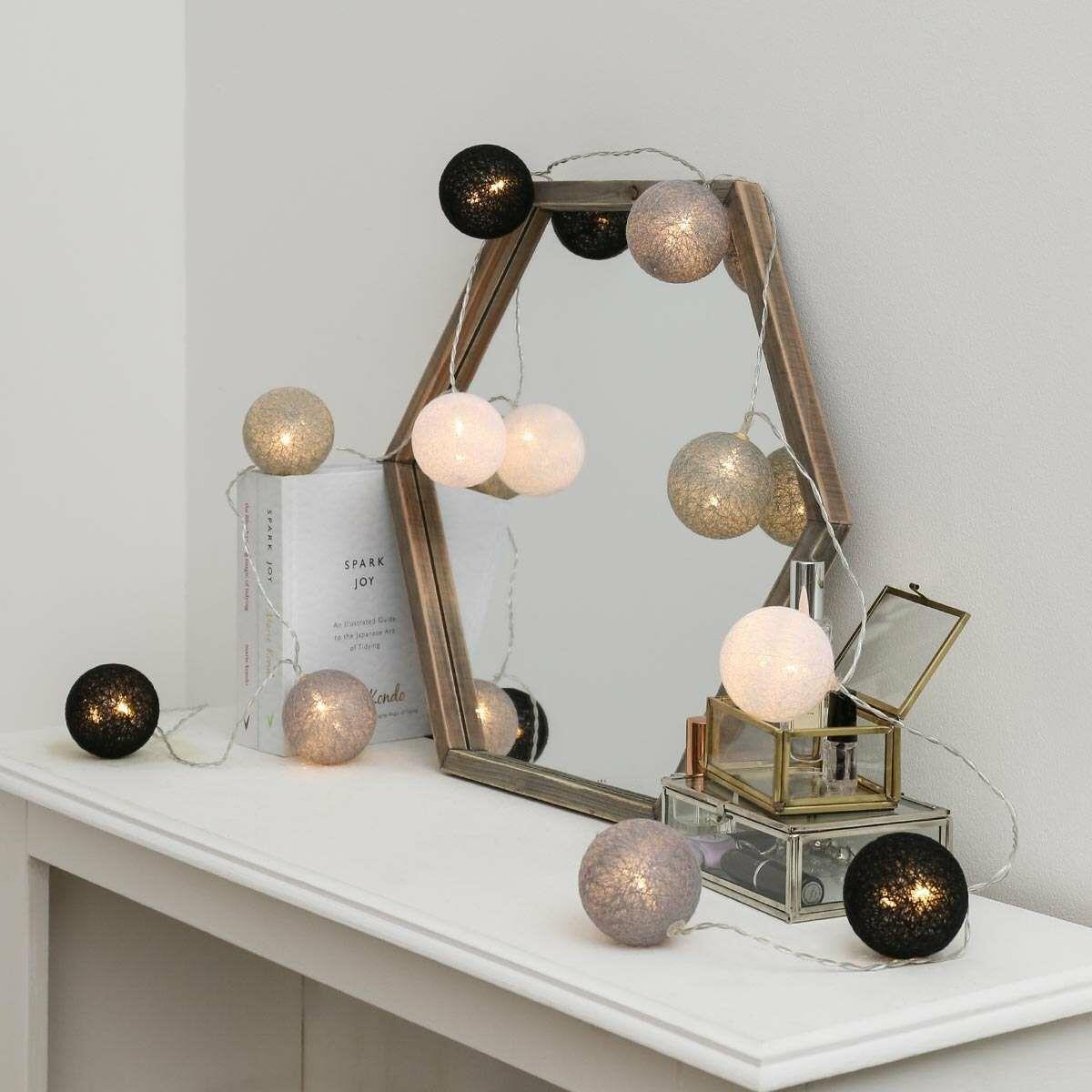 Battery Monochrome Cotton Ball Fairy Lights, 10 Warm White LEDs
