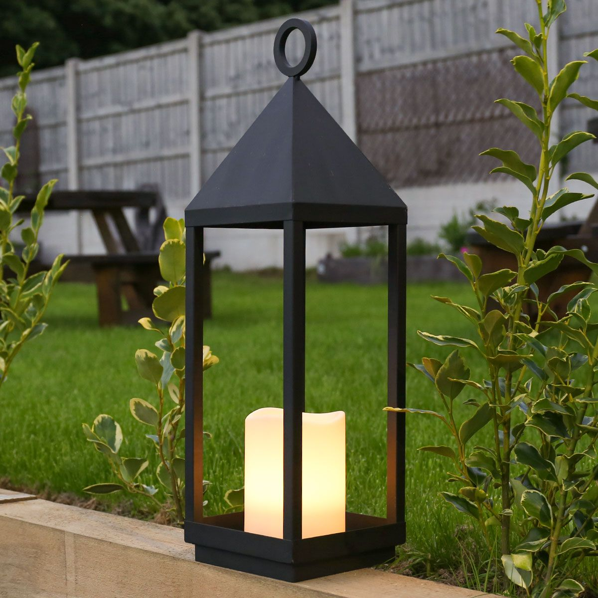 62cm Outdoor Battery Oslo Candle Lantern