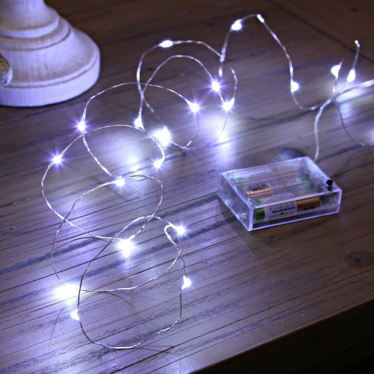 2m Battery Silver Firefly Wire Fairy Lights, 20 White LEDs