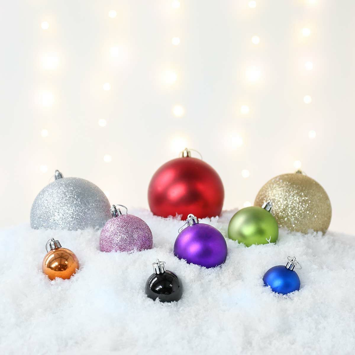 12 x 4cm Assorted Finish Shatterproof Christmas Tree Baubles
