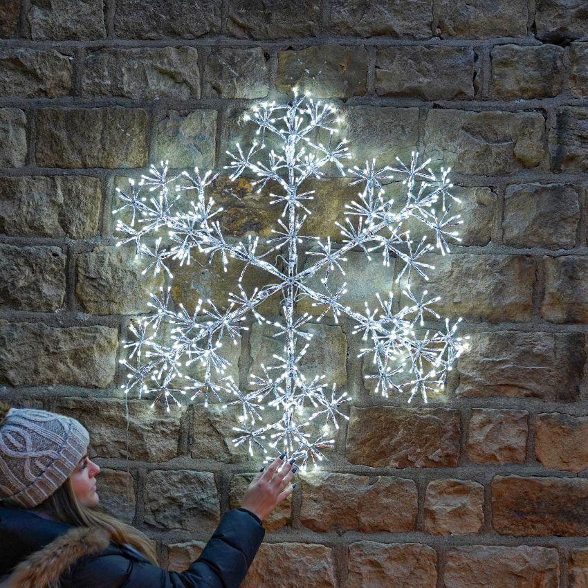 90cm Starburst Snowflake Silhouette 660 White Leds