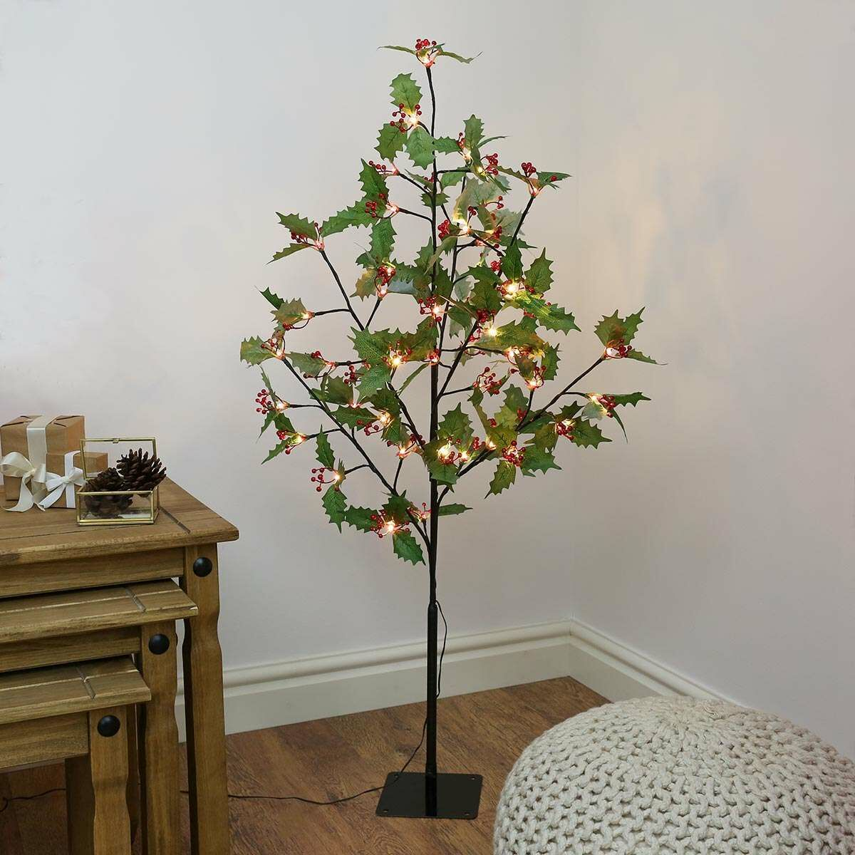 4ft Christmas Holly Leaf Tree with Red Berries