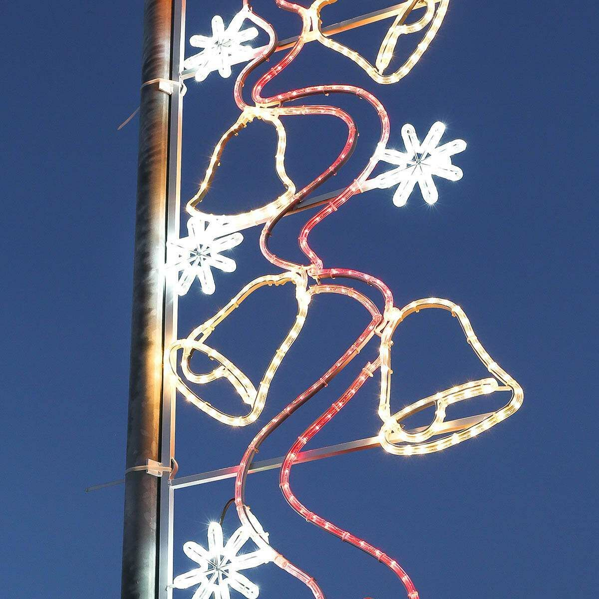 2m Aluminium Outdoor Rope Light Christmas Bells With Stars Motif Twinkle Leds