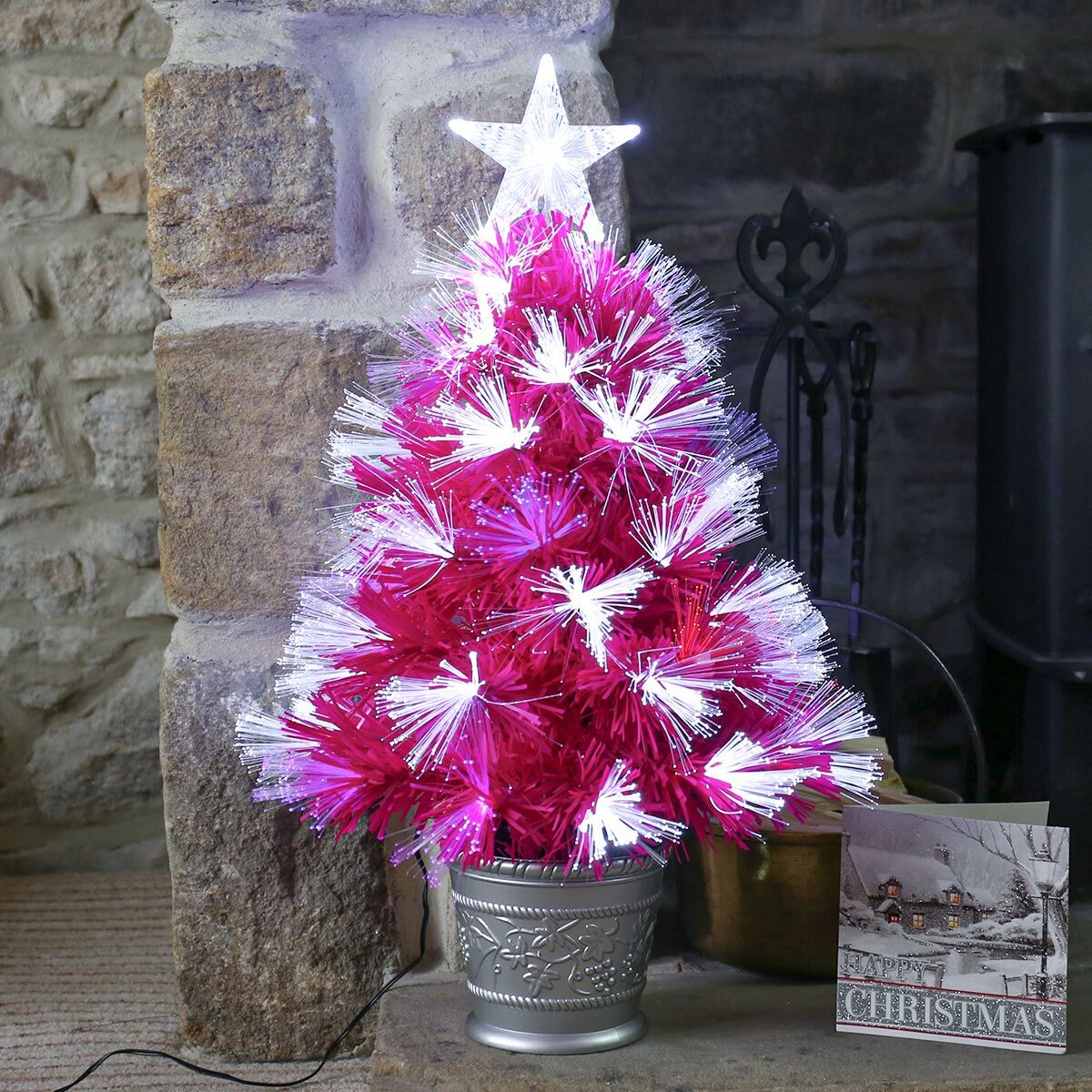 2ft Pink Fibre Optic Christmas Tree White Red And Blue Leds