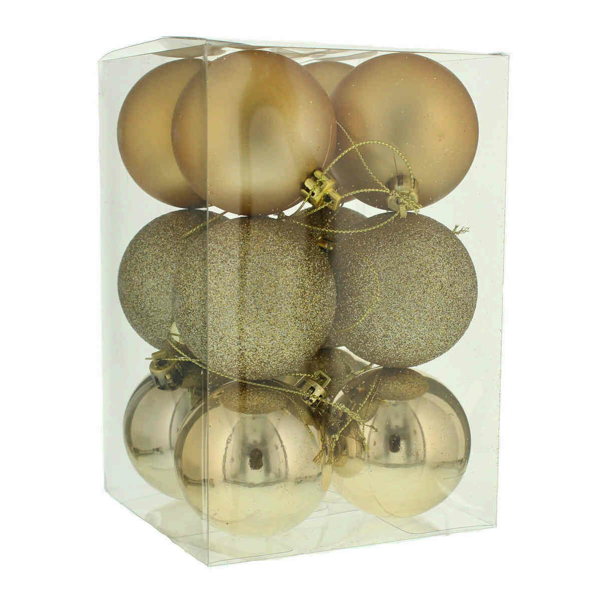 12 X 6cm Champagne Gold Assorted Finish Christmas Tree Baubles