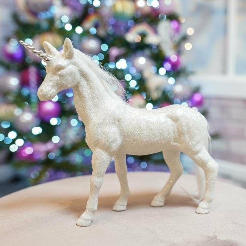 19.5cm White Glittered Standing Unicorn Christmas Decoration