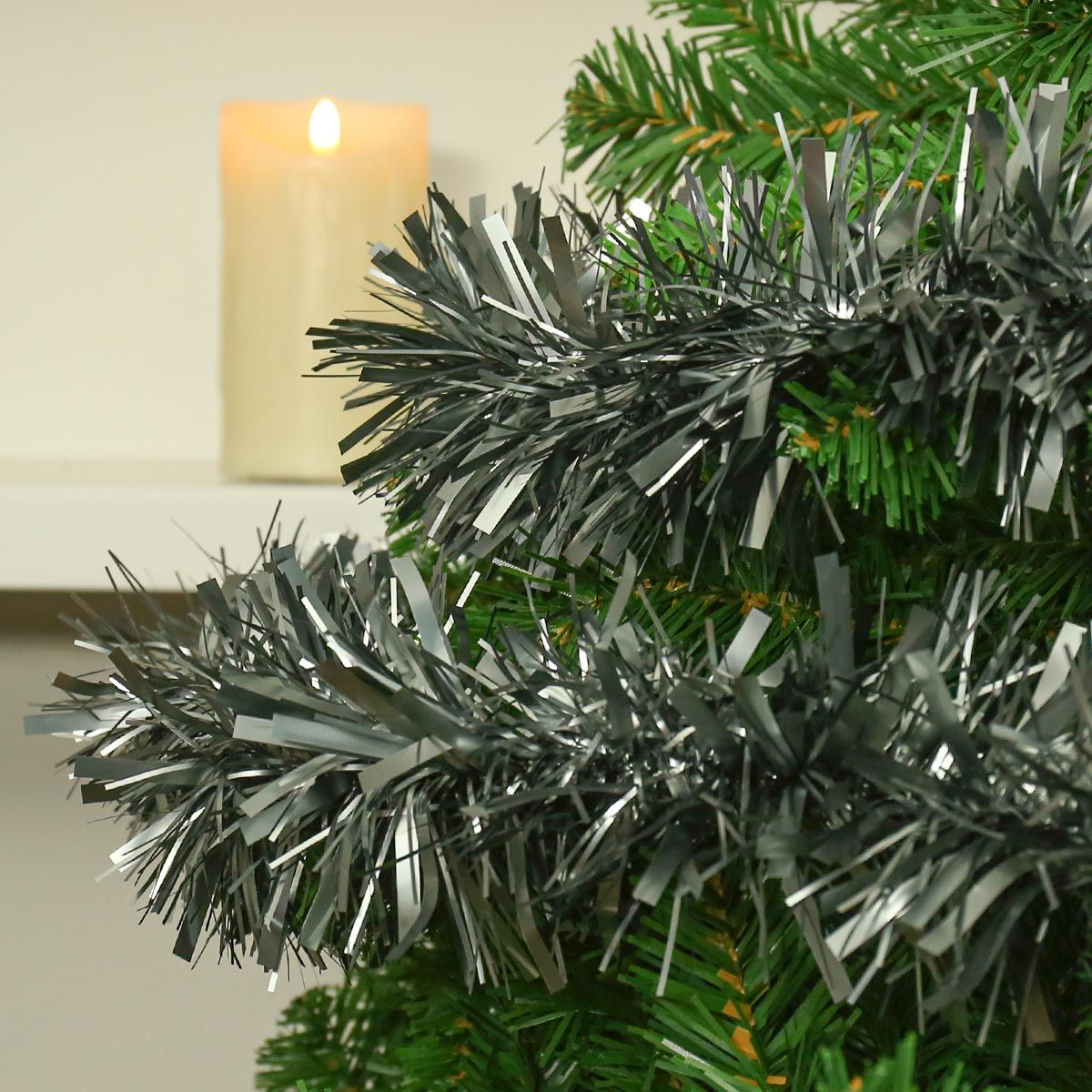 2m Pewter Tinsel Christmas Tree Decoration