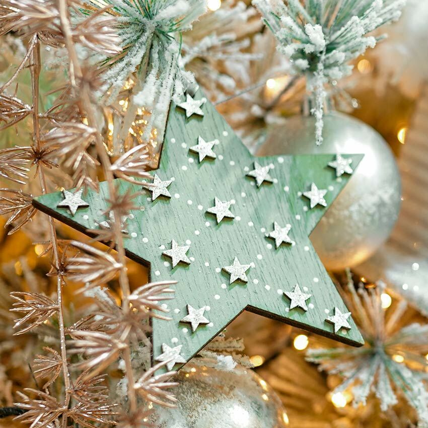 11cm Green Wooden Star Christmas Tree Decoration