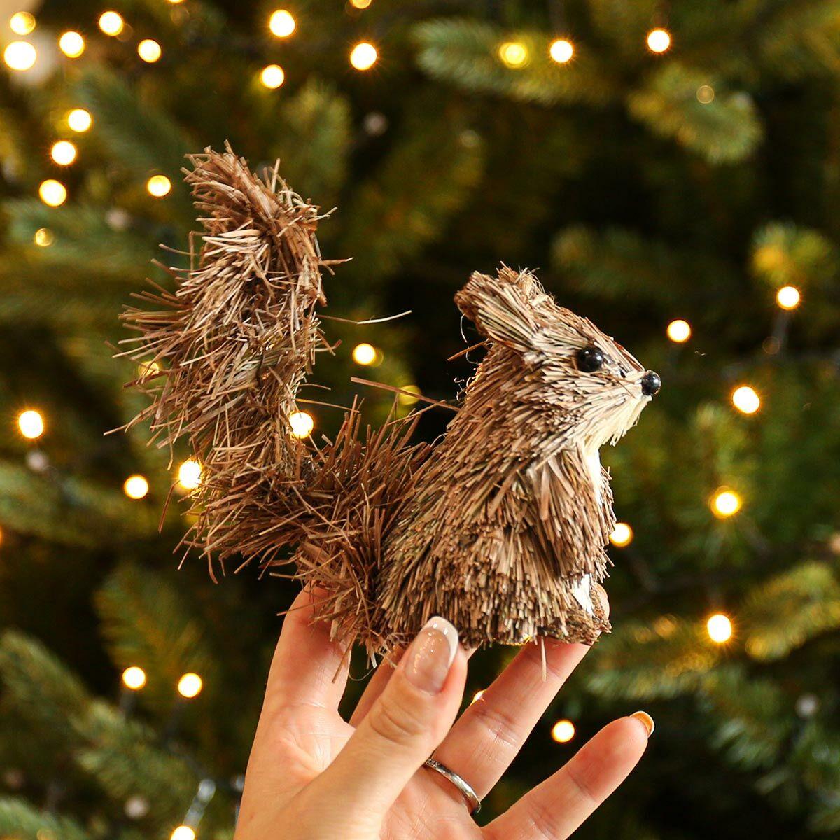 11cm Brown Bristle Squirrel Christmas Tree Decoration
