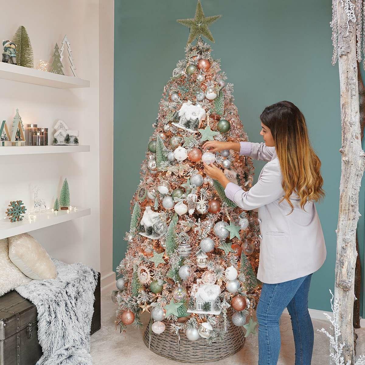 9cm Rose Gold Star Christmas Tree Decoration