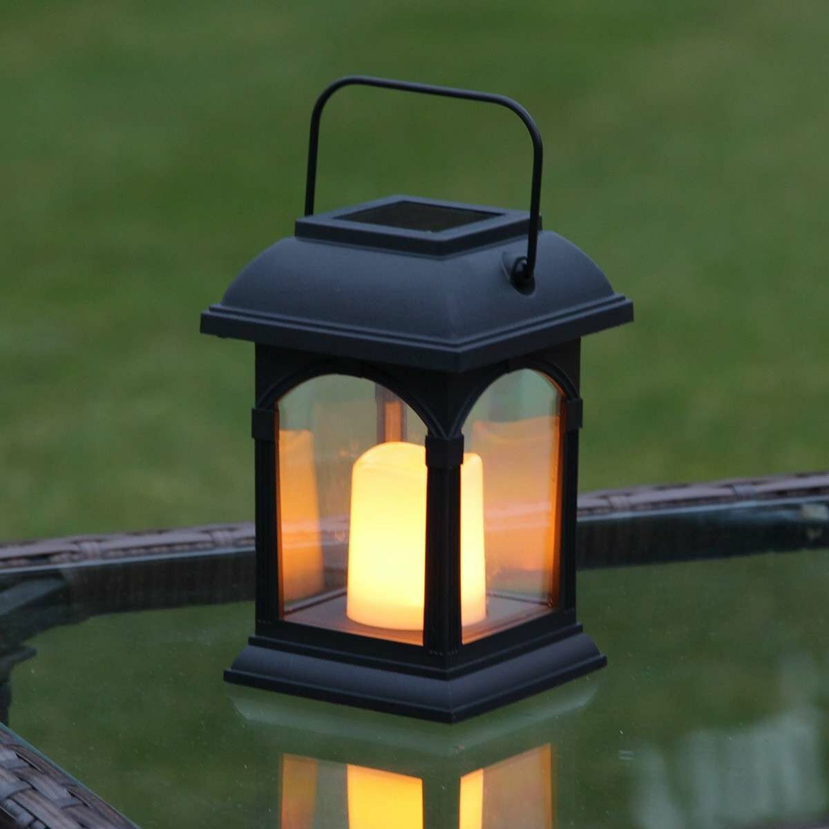Amber Solar Powered Festive Lights Garden Candle Lantern Flickering Effect