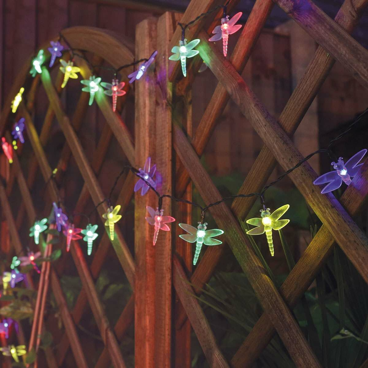 Solar Multi Function Dragonfly Fairy Lights, 100 Multi Colour LEDs, 10m