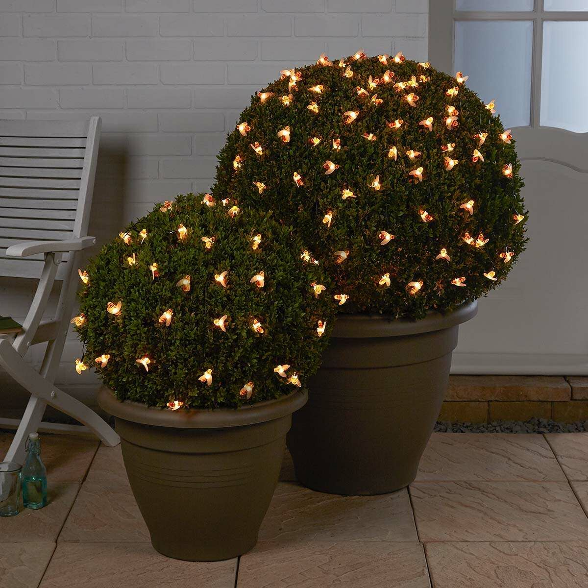 Solar Powered Bee Cap Fairy Lights, Warm White, 10m
