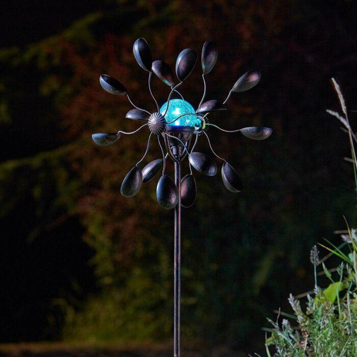 Solar Gemini Wind Spinner Stake Light