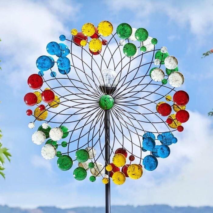 Solar Harlequin Wind Spinner Stake Light