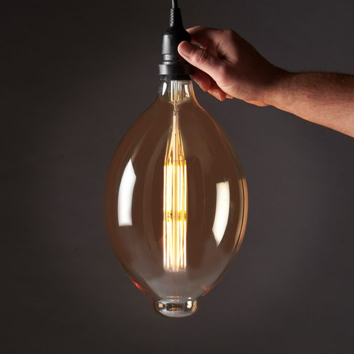 8W E27 Fully Dimmable Vintage Tinted BT180 Filament Style, Warm White LED Light Bulb