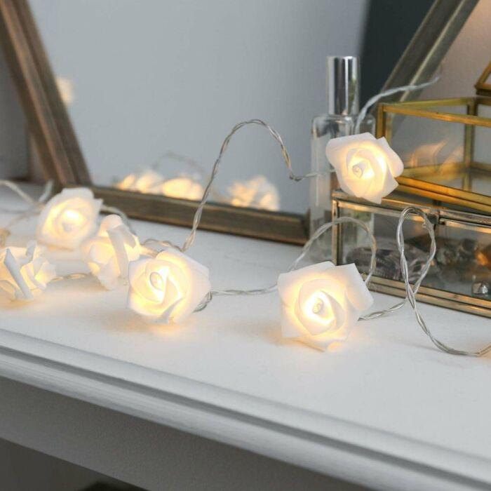 Battery Rose Fairy Lights. 20 Warm White LEDs, 3.9m
