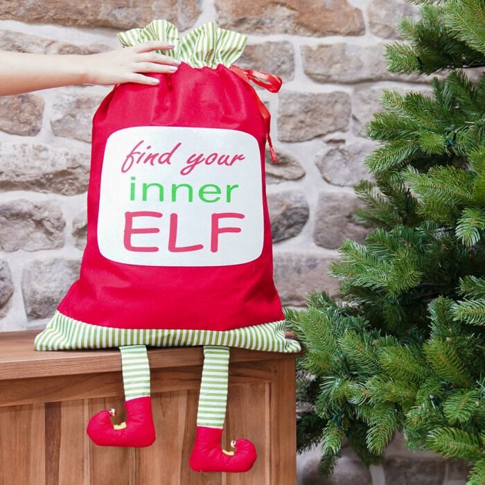 80cmRed Elf Christmas Sack with Legs