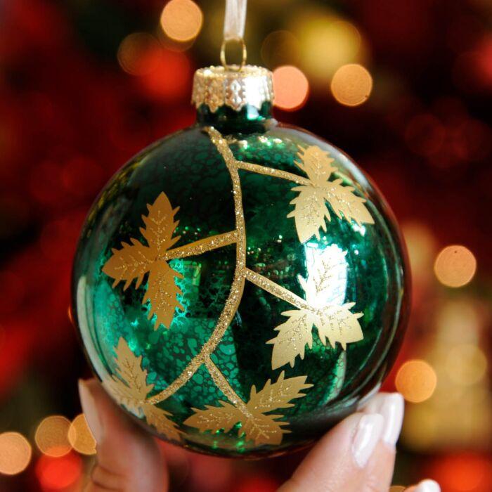8cm  Green Leaf Design Glass Christmas Tree Bauble