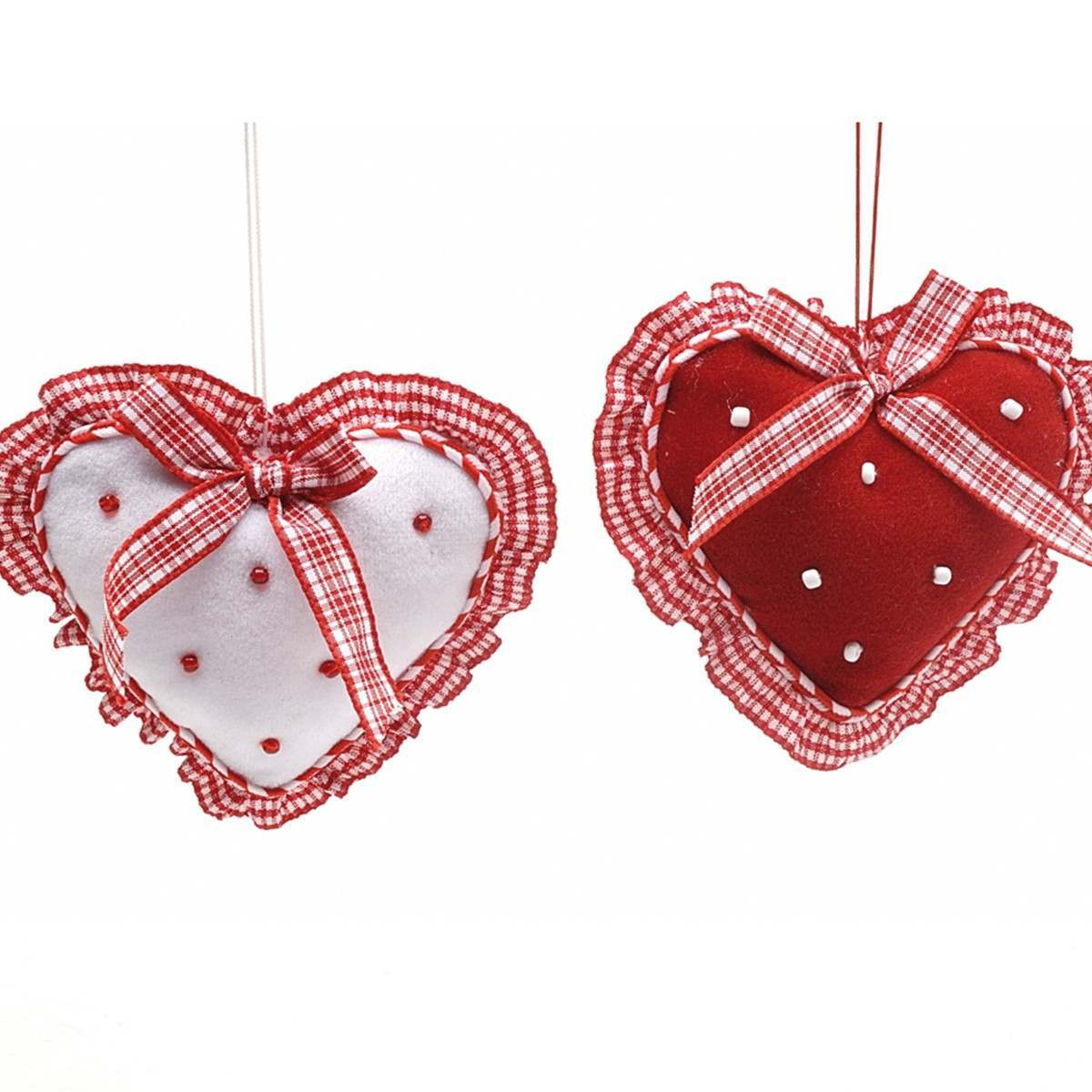 2 Asstd Red White Fabric Hearts