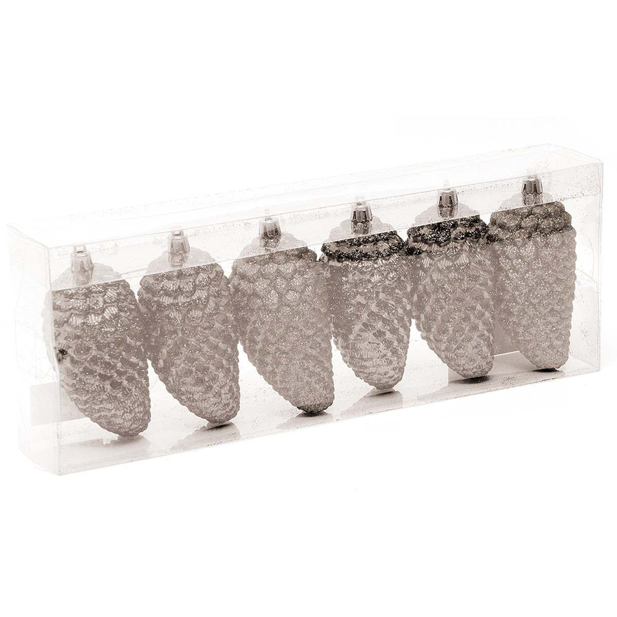 Click to view product details and reviews for Silver Glittered Pinecones 6 X 100mm.