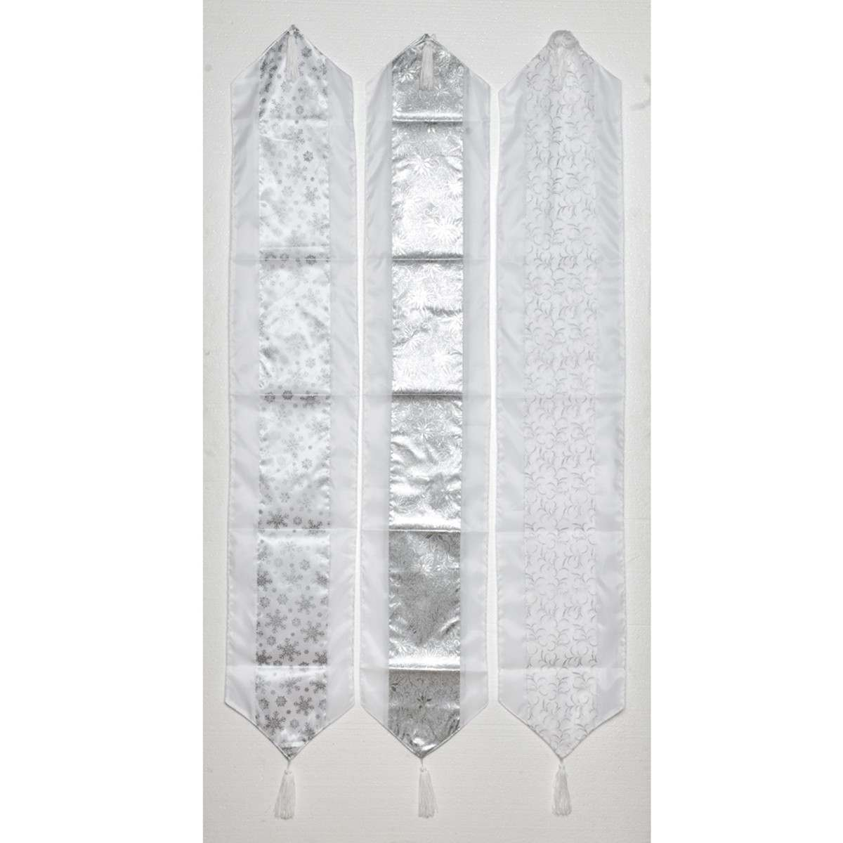 Click to view product details and reviews for 18m 3 Asstd Silver White Table Runners.
