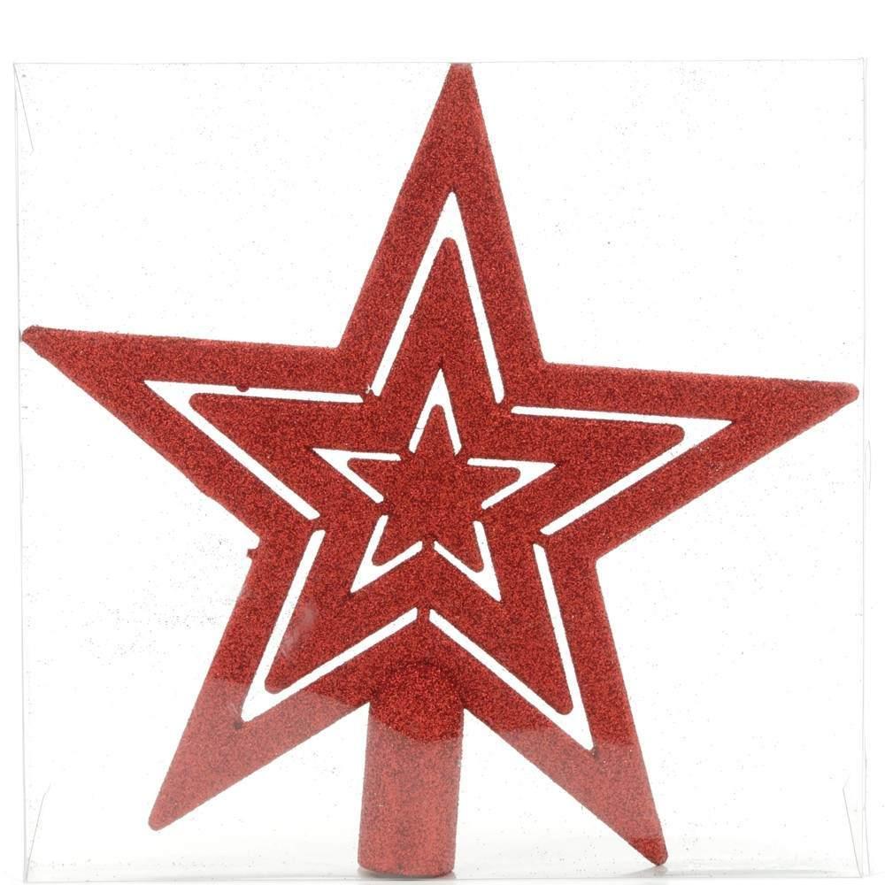 Glitter Die Cut Tree Top Star Red