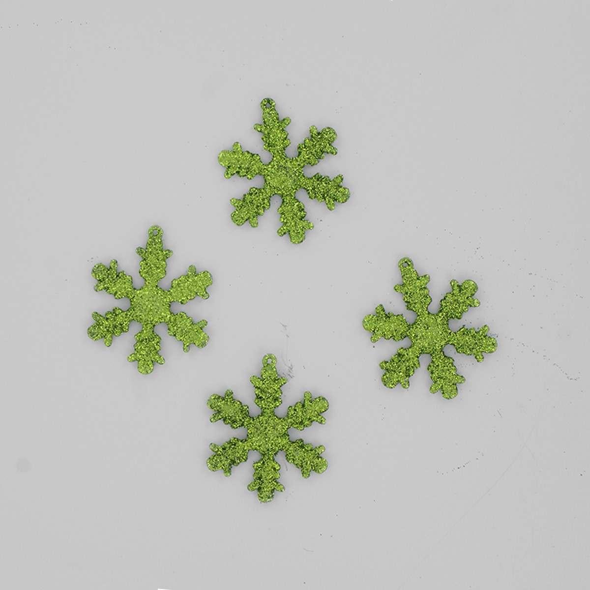 12 x 50mm Rich Green Shatterproof Snowflakes