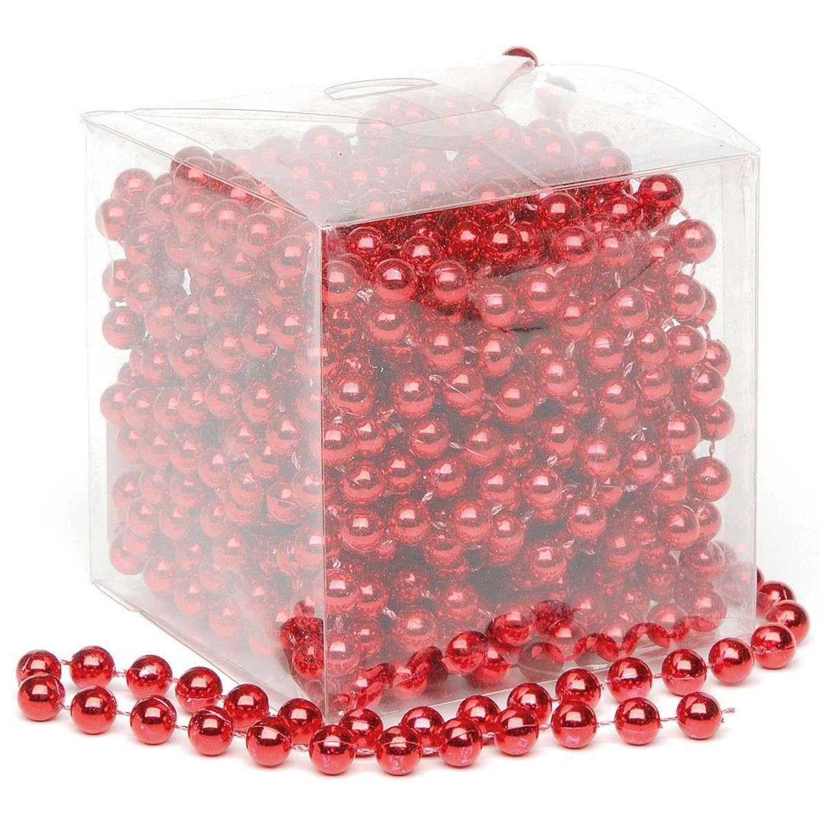 10m x 8mm Shiny Bead Chain Christmas Red