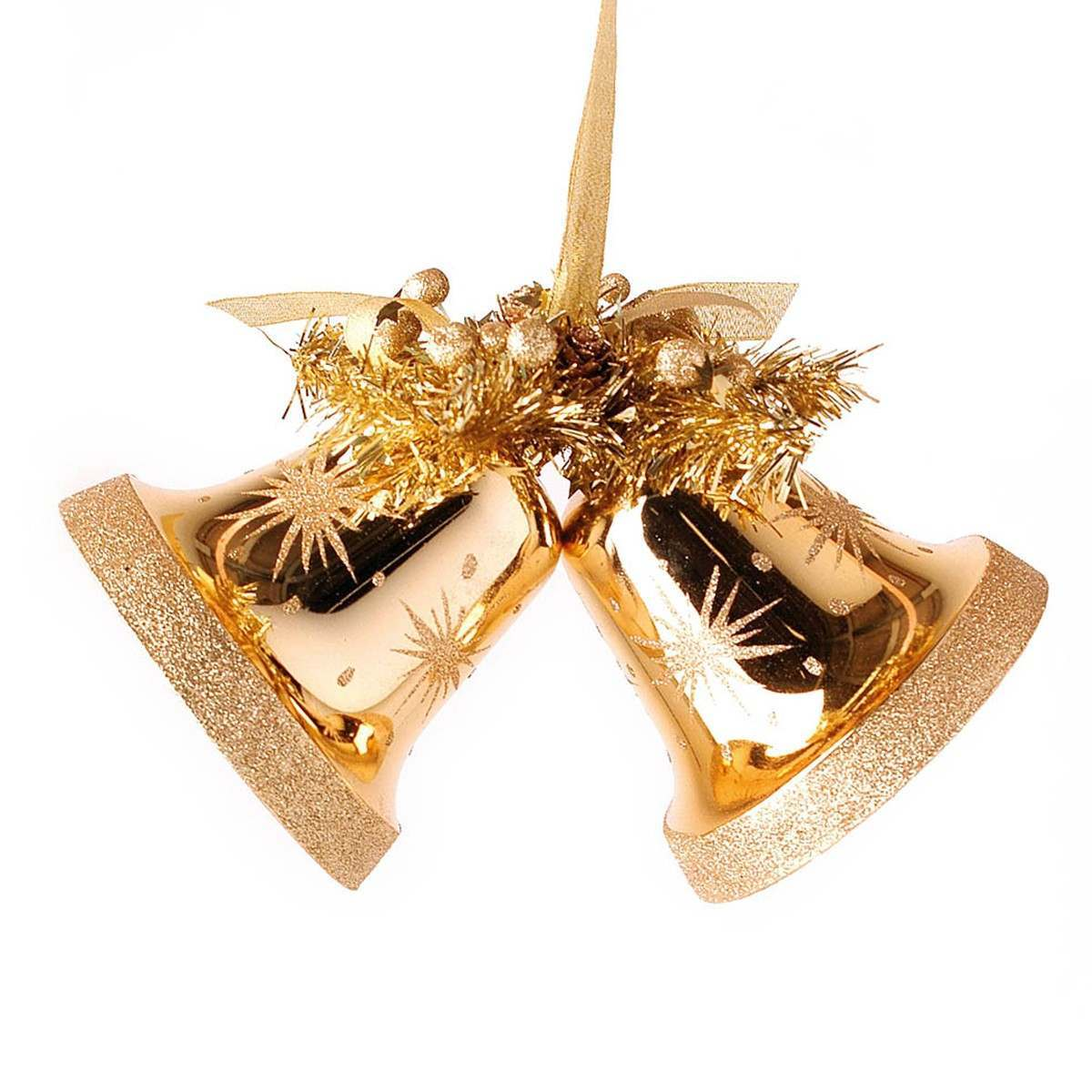 2 X 15CM GOLD HANGING BELL CLUSTER