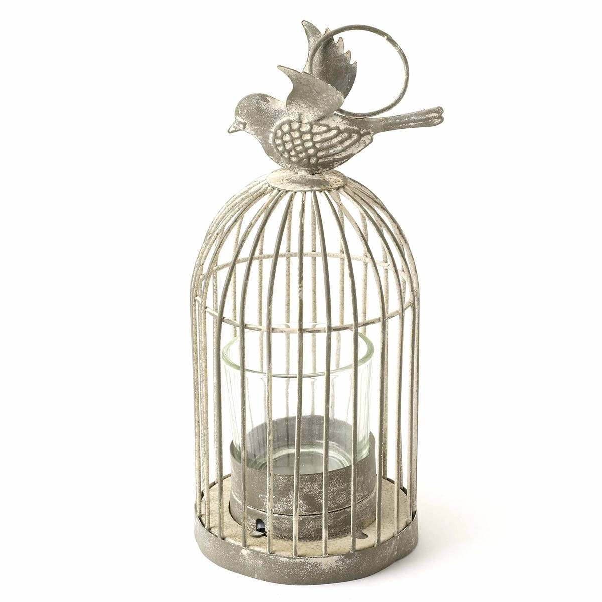 Shabby Chic Bird Cage Tea Light Holder 19cm