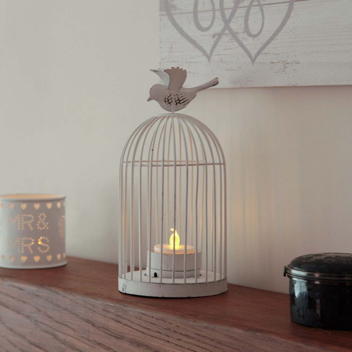 Shabby Chic Bird Cage Tea Light Holder With Tea Light 24cm