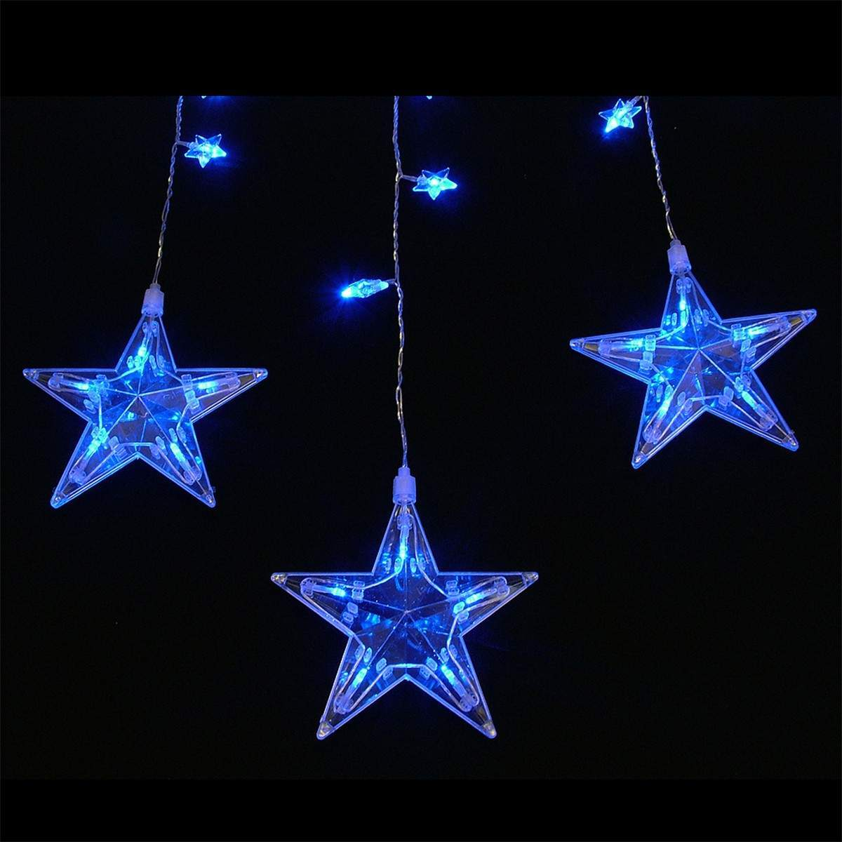 Click to view product details and reviews for Indoor Star Christmas Curtain Lights 75 Blue Leds 18m.