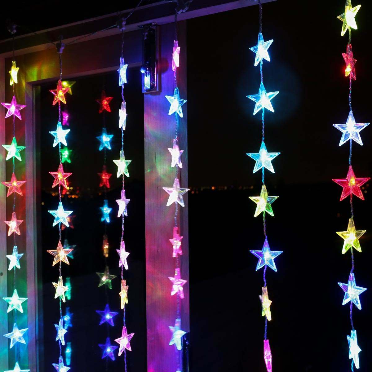Click to view product details and reviews for 1m X 1m Indoor Star Christmas Curtain Light Colour Changing Leds.